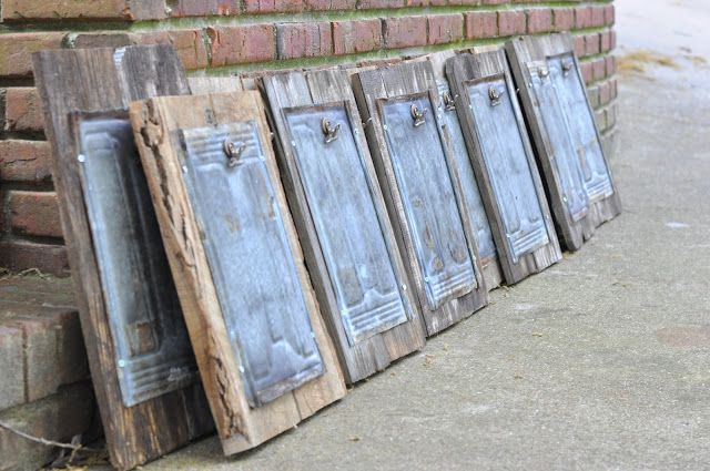 Oh My Stars and Gardens: Old Wood & Vintage Metal Roof Tiles = magnetic board
