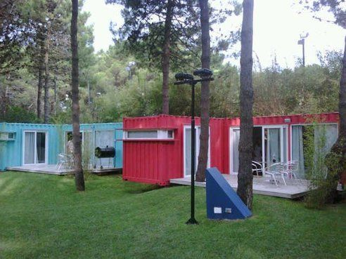 """Shipping containers refurbished as """"hotel resort cabins"""" at Alterra, a beach resort hotel in Pinamar, Argentina"""