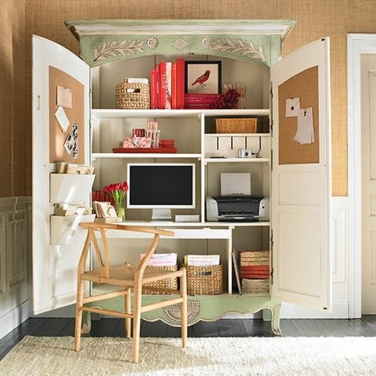 via Wisteria 1. Contained Office. A tall computer hutch is a great way to use vertical space to pack all things office into one piece of furniture. Consider customizing one you already have with bulletin boards and a pull out desk (that's what we plan to do with our family room's armoire – build a family computer station