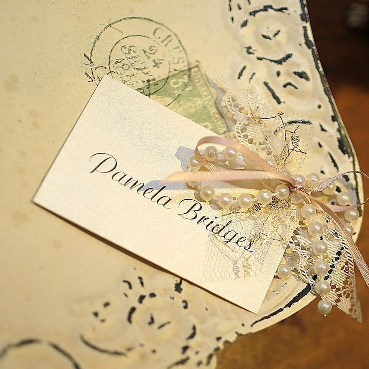 lace and pearls corsage name card www.bohemiandreams.co.uk