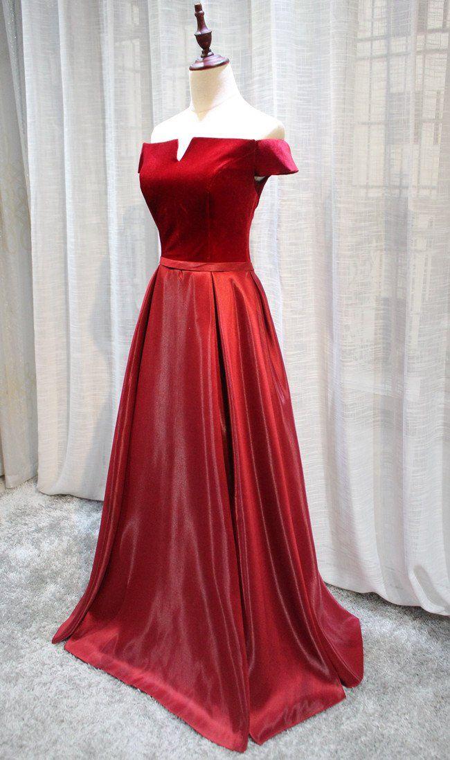 f7a4fc29159 Red Velvet and Satin Long Off Shoulder Formal Dress