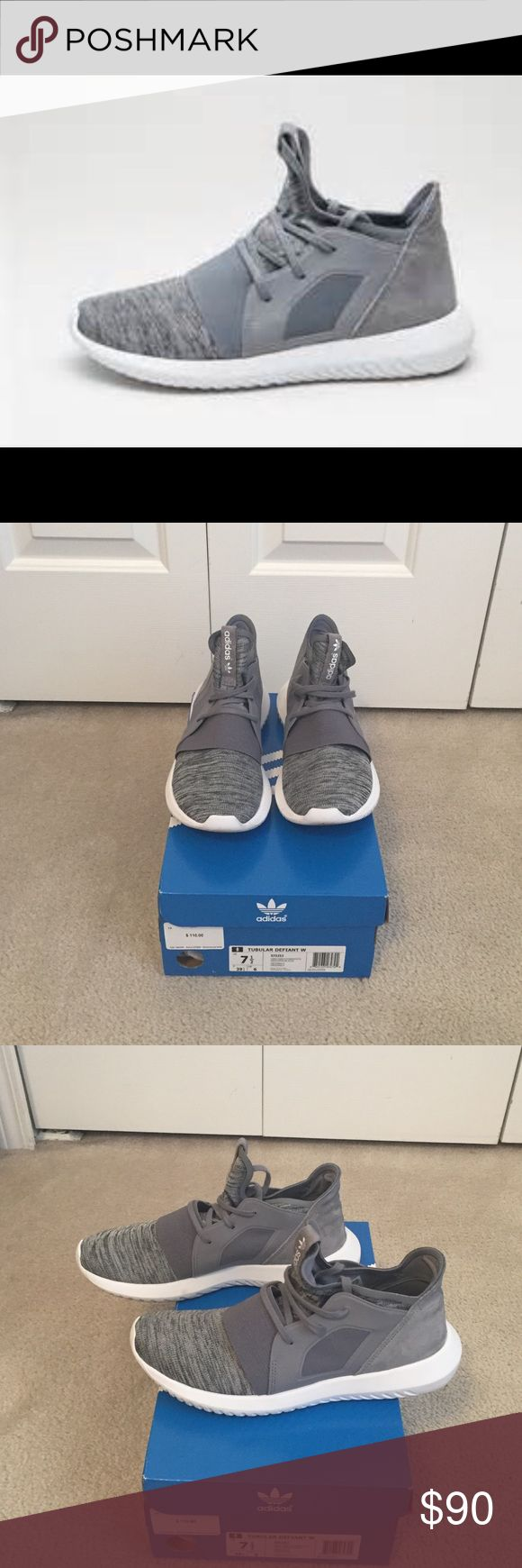 Adidas Tubular Defiant Shoes These are very comfortable sneakers in grey and white. Features the Adidas primeknit upper and suede in the back. Have been worn once but you can only tell by looking at the bottoms. There are no scuffs on the shoes. Adidas Shoes Athletic Shoes