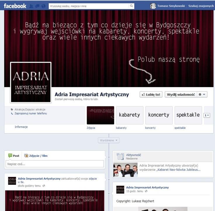 Zrzutka ekranu z prowadzonego przez nas fanpage'a Impresariatu Adria.