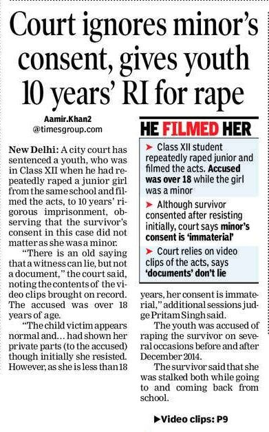 A court in Delhi sentenced 10 years' rigorous imprisonment to a youth for raping a minor. #CriminalLawyersinHyderabad        #CriminalAdvocatesinHyderabad #AbhayaLegalServices                       #LegalServicesinHyderabad