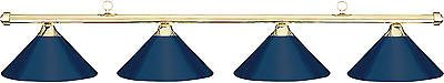 Table Lights and Lamps 75189: Hj Scott Brass 4-Shade Bar/Blue Metal Shade Billiard Pool Table Light BUY IT NOW ONLY: $223.99