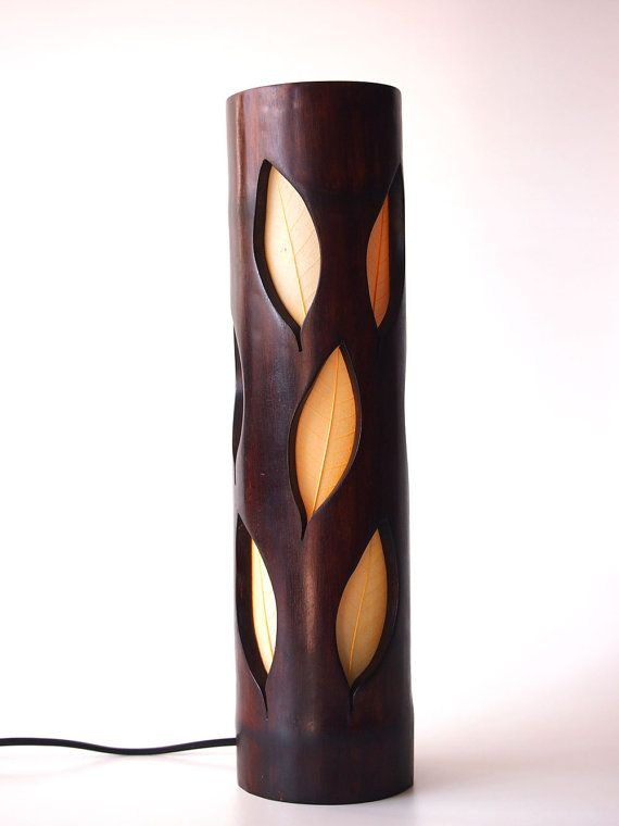 Wood Lamp bedside lamp girlfriend gift natural bamboo by bamboobg