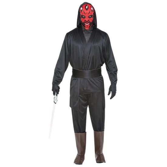 Compleet ruimte boef kostuum bestaande uit een jas met capuchon, broek, beenkappen en masker. Het kostuum is gemaakt van 100% polyester.