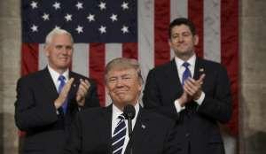 USA-TRUMP - Bild: POOL/REUTERS / Präsident Trump bei seiner Antrittsrede vor dem Kongress. Damals wurde noch gek...