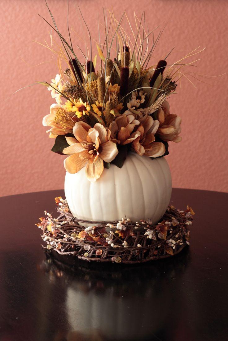 AutumnFall Centerpieces, Fall Decor, Fall Table, Tables Centerpieces, Pumpkin Decor, Autumn Centerpieces, White Pumpkin, Fall Flower, Pumpkin Centerpieces