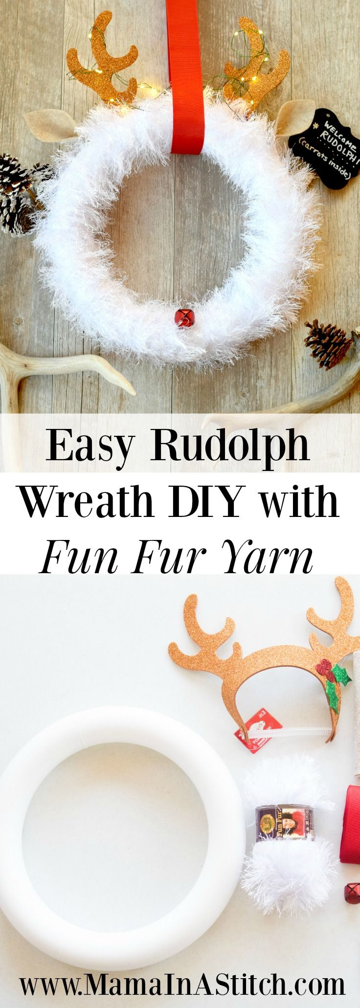 Make this cute holiday wreath with Lion Brand Fun Fur!