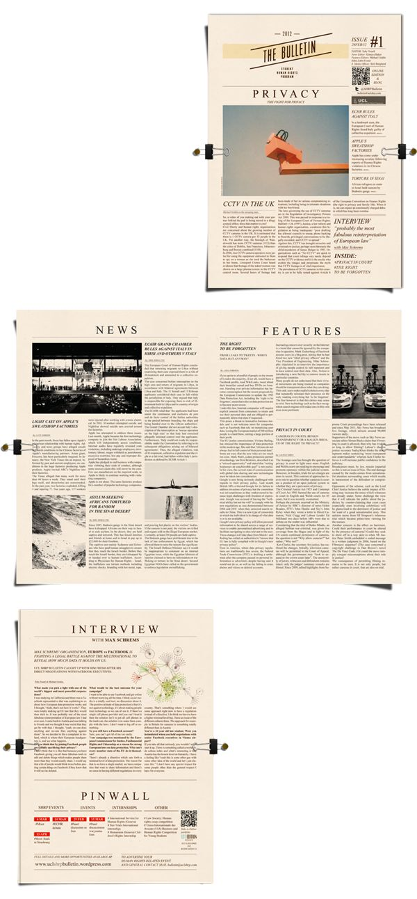 Bulletin for UCL | Editorial design by Guilherme de Bernardo S., via Behance