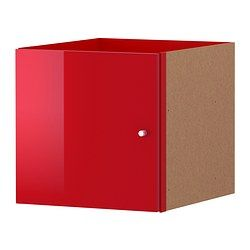 EXPEDIT Insert with door, high-gloss red - 33x33 cm - IKEA