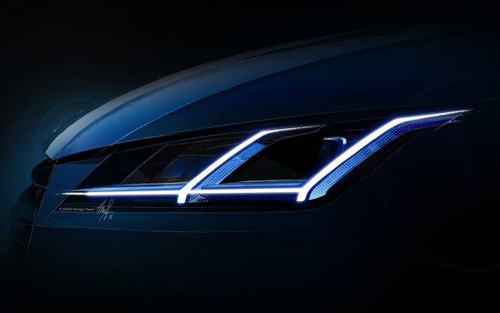 Audi, close-up, headlights, LED optics
