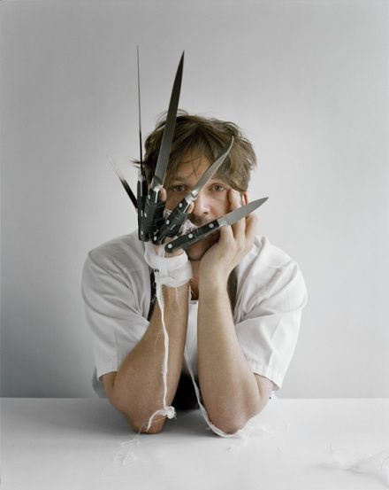 Tim Walker. Rene Redzepi with knives, Copenhagen, Denmark. Vogue US, 2010.