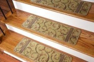 Dean Premium Carpet Stair Treads - Ivory/Beige Scrollwork (13) modern-stair-tread-rugs