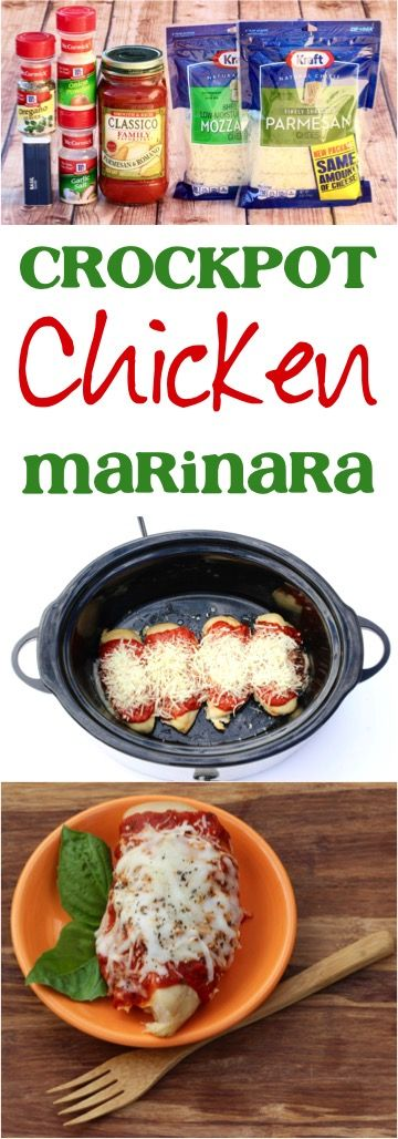 Easy Crock Pot Chicken Marinara Recipe!  This Slow Cooker dinner is so easy to make, and will become a family favorite!