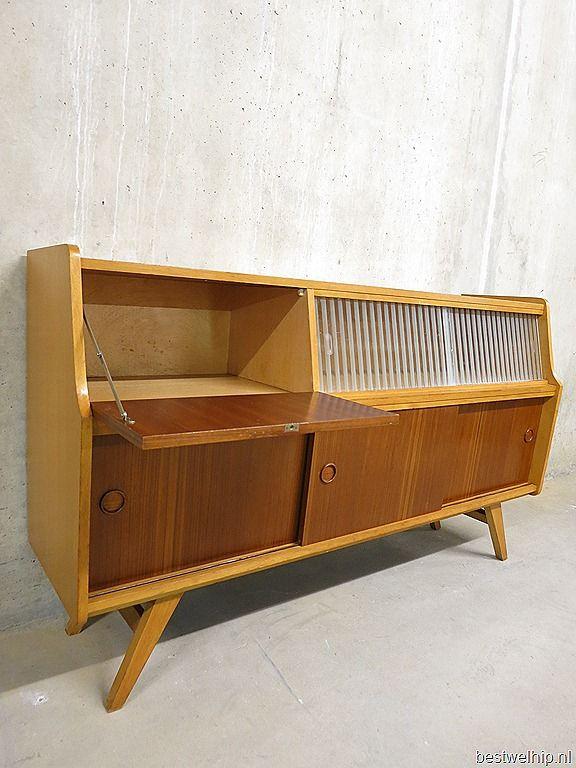 Mid century vintage design cabinet dressoir retro wandkast jaren 50 60
