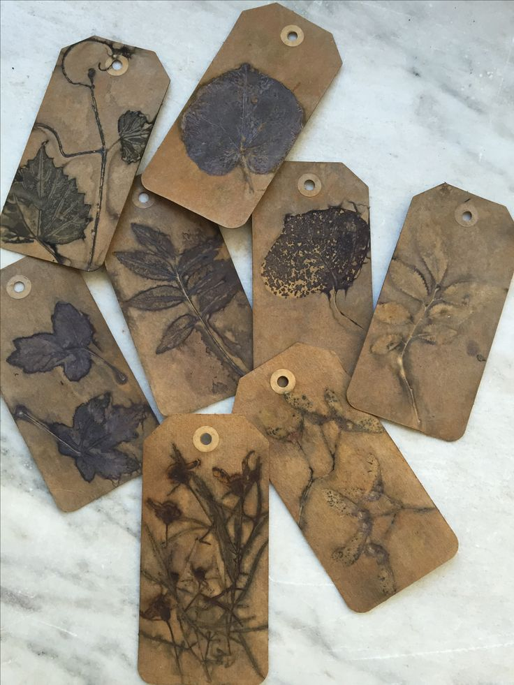 Eco printed gift tags by Rebecca Yeomans