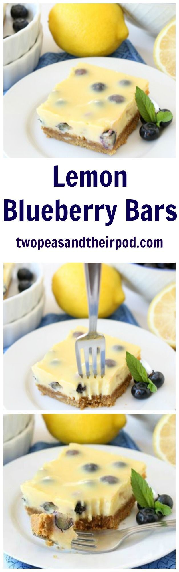Lemon Blueberry Bars Recipe These easy lemon bars with a graham cracker crust are bursting with juicy blueberries! They are a family favorite dessert!