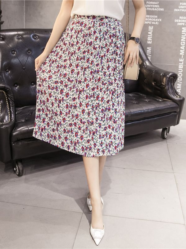 Updated Floral Pattern Mid-length Skirt(Size:S-2XL)