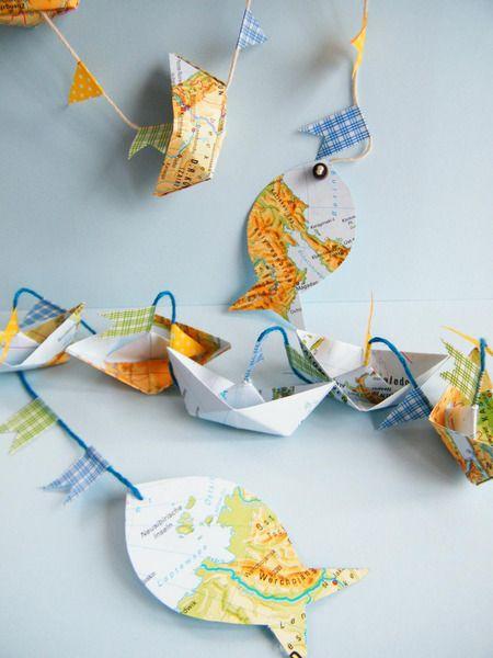 Weltkarten-Bummler  Papier-Girlande,senkrecht,Boot von Papilottas Papierwerkstatt auf DaWanda.com