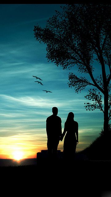 Romantic-Sunset - Couple looking on - can be a moonlight scene