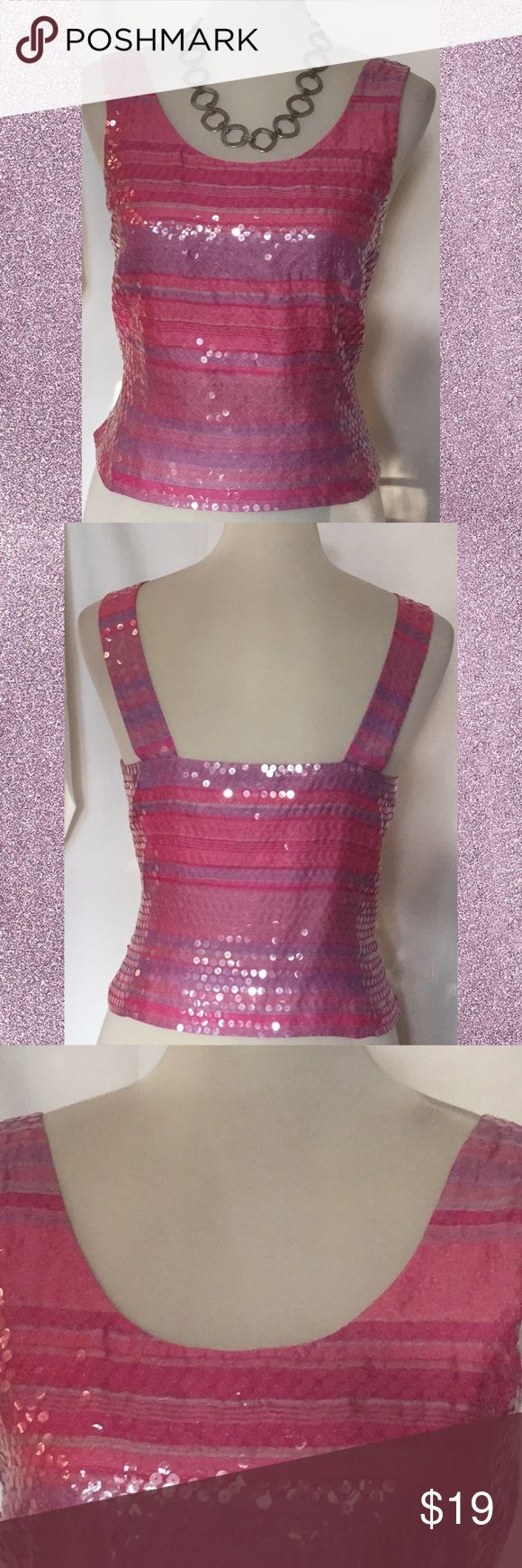 Girly, pink and clear sequin crop top, sz S Super cute crop top. Wear by itself or under sweater or blazer for a pop of color. Carlisle Tops Crop Tops