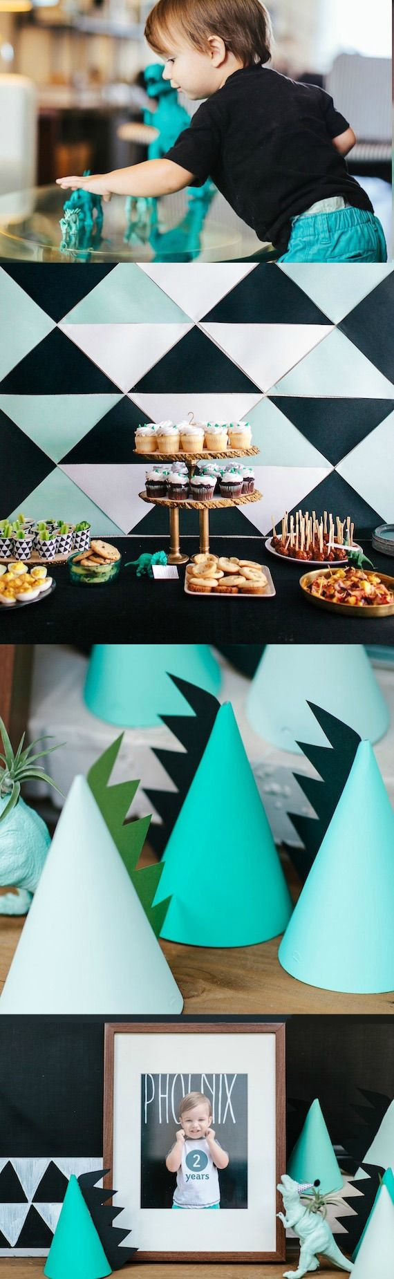 This dinosaur-themed kid's birthday party featured on 100 Layer Cake-let is sure to be a smashing and roaring good time! Complete with dinosaur hats, decorations, and dessert ideas—this is every little boy's dream celebration!