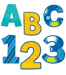 "EZ 4"" Bubbly Blues Letters - for bulletin boards and wall displays."