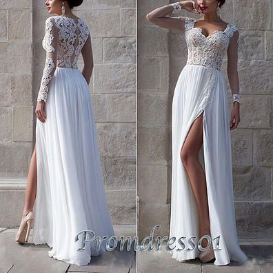 It's really a special dress with only one sleeves. It's white and the top is lace while the bottom is chiffon.The slit make the dress more cute, it the best choice to a tall girl for prom 2016. #coniefox #2016prom