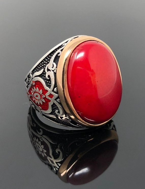 Handmade 925k Sterling Silver Red Coral Stone Men S Ring
