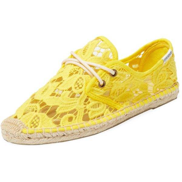 Soludos Soludos Women's Tulip Lace Derby Espadrille - Yellow - Size 10 (945 CZK) ❤ liked on Polyvore featuring shoes, sandals, yellow, lace-up sandals, soludos, lace up sandals, laced shoes and espadrille sandals