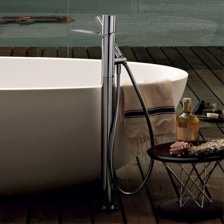 Milano Floor Mount Bath Filler With Handshower - Bathroom Tapware - Bathroom