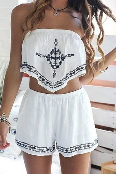 Strapless Crop Top + Printed Loose-Fitting Shorts Twinset WHITE: Two-Piece Outfits | ZAFUL
