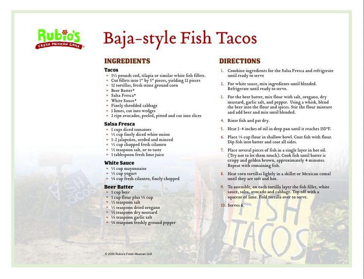 Rubio's Baja Style Fish Tacos!   Here Fishy Fishy   Pinterest