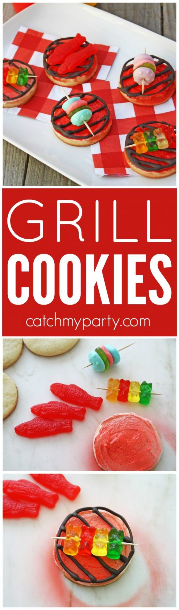 Learn to make these easy BBQ Grill Cookies! These are perfect to serve at a summer party or BBQ. Kids and adults will love them. | Catchmyparty.com