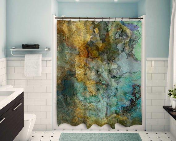 Zeitgenossische Duschvorhang Abstrakte Kunst Badezimmer Dekor