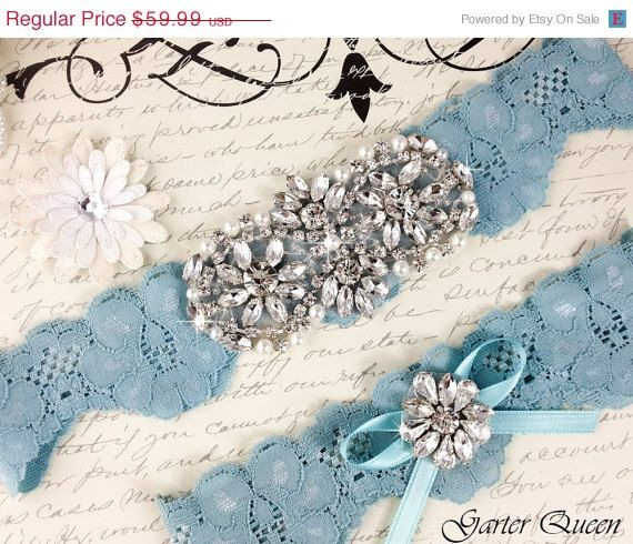 15% OFF Bridal garter set, SOMETHING BLUE Wedding Garter set, Heirloom Rhinestone and Crystal garters on Etsy, $50.99