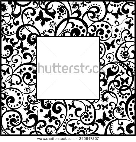 frame design vector black and white flowers - Google Search