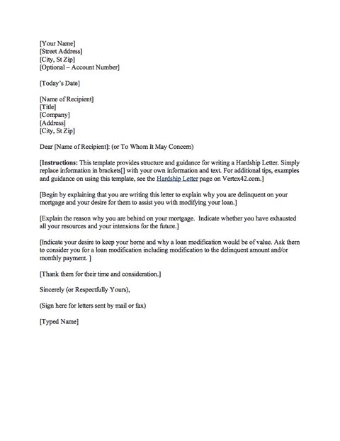 download the hardship letter from vertex42 com