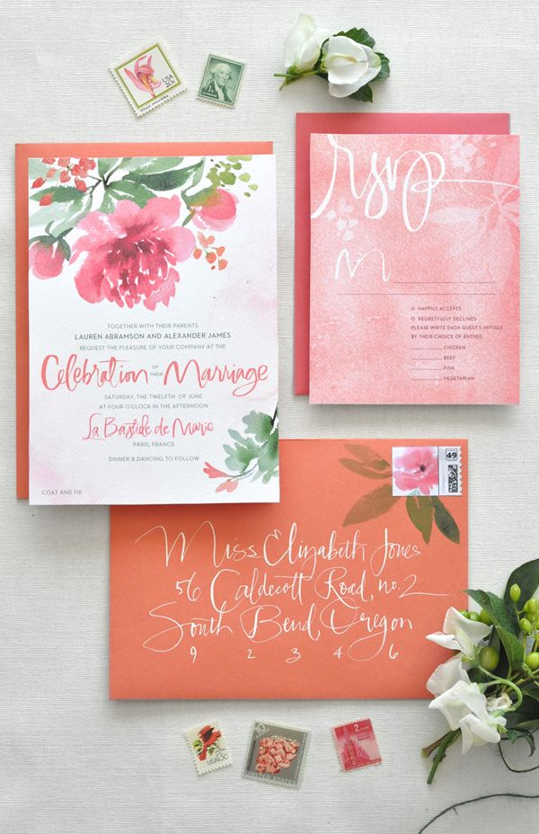 time wedding invitatiowording%0A Watercolor Calligraphy Wedding Invitations by Julie Song Ink