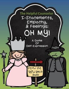 Help+your+students+learn+how+to+make+I-Statements,+show+empathy,+and+express+their+feelings+with+this+fun+game!  Contents: Game+board 4+game+pieces 24+I-statement+cards 24+empathy+cards 9+Feelings:+Angry,+Sad,+Worried,+Proud,+Excited,+Surprised,+Embarrassed,+and+Happy  3+Posters++(8+1/2+x+11) 3+Coloring+pages  I-statement+worksheet+(color+and+black+