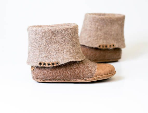 Natural beige brown wool ankle boots with ombre effect Women