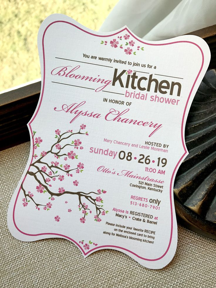 recipe themed bridal shower invitation wording%0A Blooming Kitchen Cherry Blossom Tree Hand Cut Bridal Shower Invitation     Sample by envymarketing