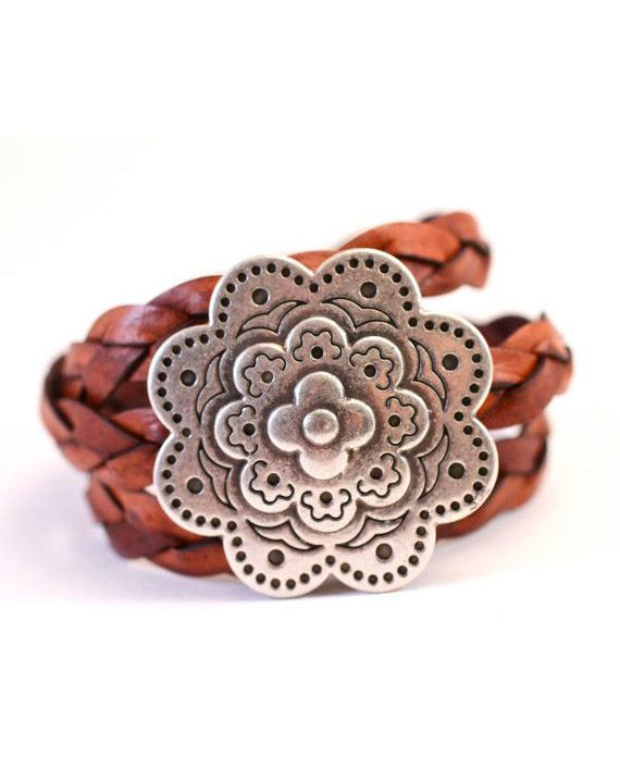 Large Silver Bracelet Flower Medallion Leather Wrap Bracelet Gift For Mom Her Amy Fine Design  #Fashionable #bracelet