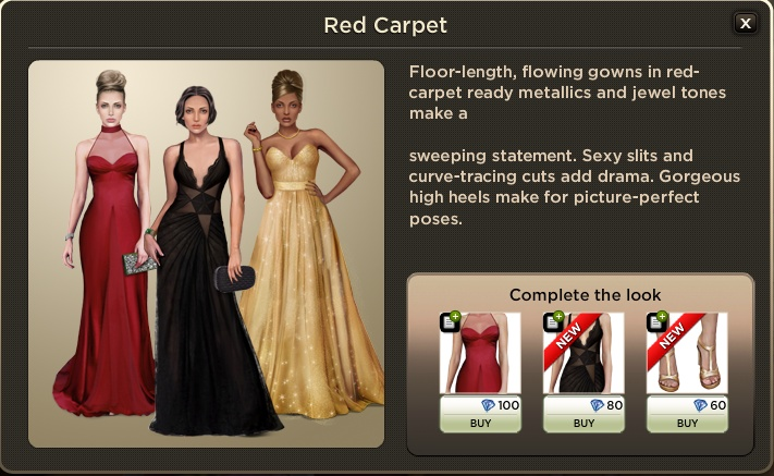 Red Carpet:  Floor-length flowing gowns in red-carpet ready metallics and jewel tones make a  sweeping statement. Sexy slits and curve-tracing cuts add drama. Gorgeous high heels make for picture-perfect poses.