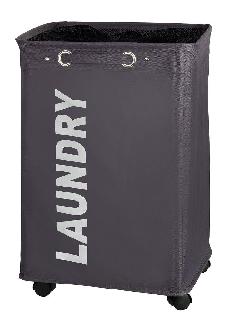 Der Wäschebehälter QUADRO In Grau Und Dem Weißen Schriftzug Sorgt Für Einen  Stylischen Farbakzent Im Badezimmer