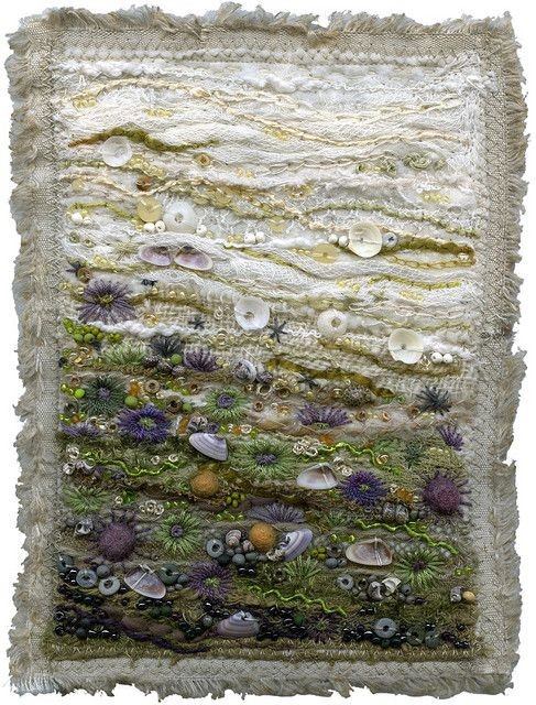 Urchins and Anemones 3- The tidal coast is the best place on earth to find texture. Aggregate anemones, barnacles, seaweed, shells, sand and rocks form a dense carpet of living tapestry. I've used felting, embroidery, couching, machine and hand embroidery, beading and applique. There are felted balls, trims, polymer beads, textured yarns, seashells, silk and cotton floss, glass beads, and salvaged fabrics.