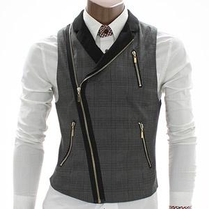 Mens Checks Zip up Vest (AV3-BLACK)