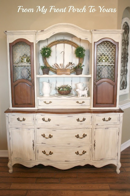 Two tone hutchChina Cabinets, Cabinets Redo, Painting Furniture,  China Closets, French Country, Country Hutch, Hutch Reveal, Diy Projects, Front Porches